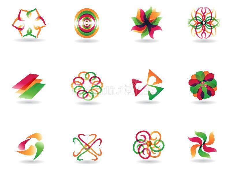 Iconos coloridos abstractos stock de ilustración