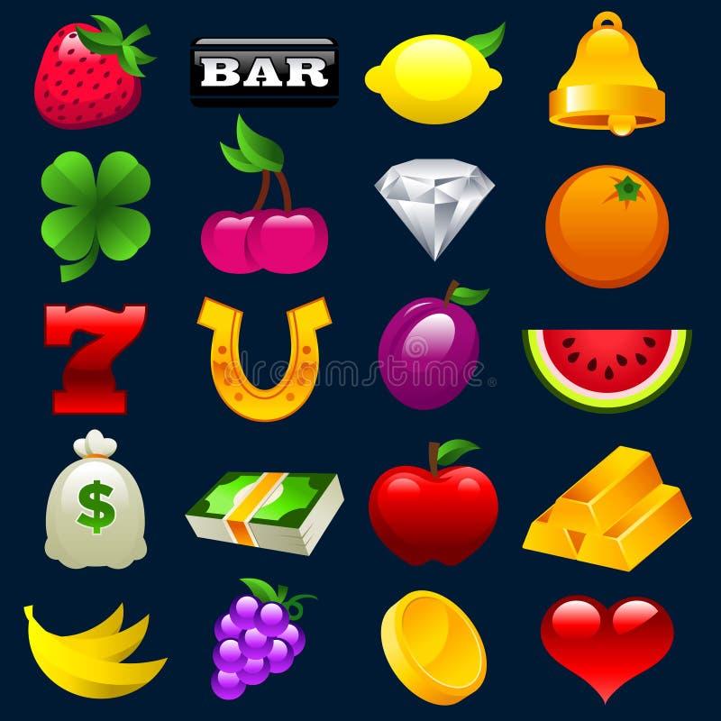 Iconos coloridos de la máquina tragaperras stock de ilustración