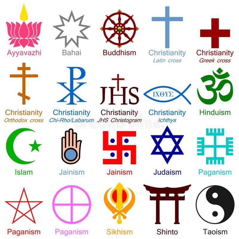 Iconos coloridos de la religión del mundo stock de ilustración