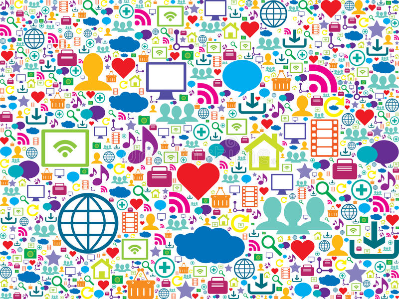 Iconos coloridos de la tecnología y de los medios sociales stock de ilustración