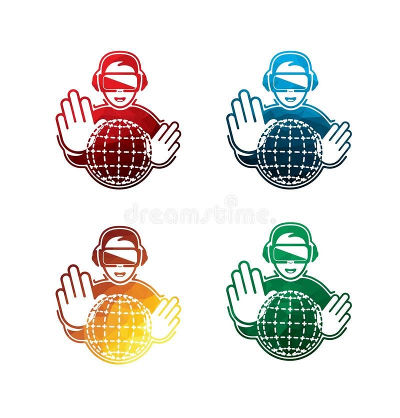 Iconos coloridos de las auriculares de la realidad virtual en el fondo blanco iconos aislados de las auriculares de VR EPS8 stock de ilustración
