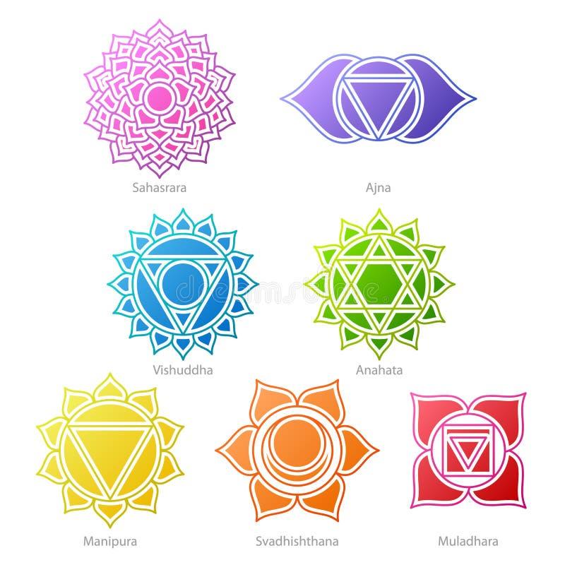 Iconos coloridos de los símbolos de los chakras fijados libre illustration