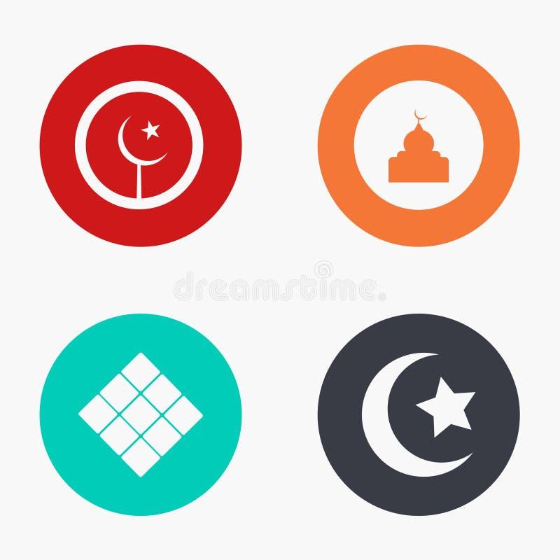 Iconos coloridos de Mubarak del eid moderno del vector fijados libre illustration