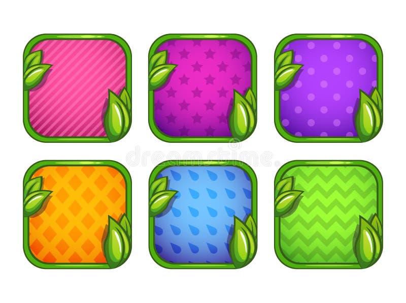 Iconos coloridos del app con diversos modelos ilustración del vector