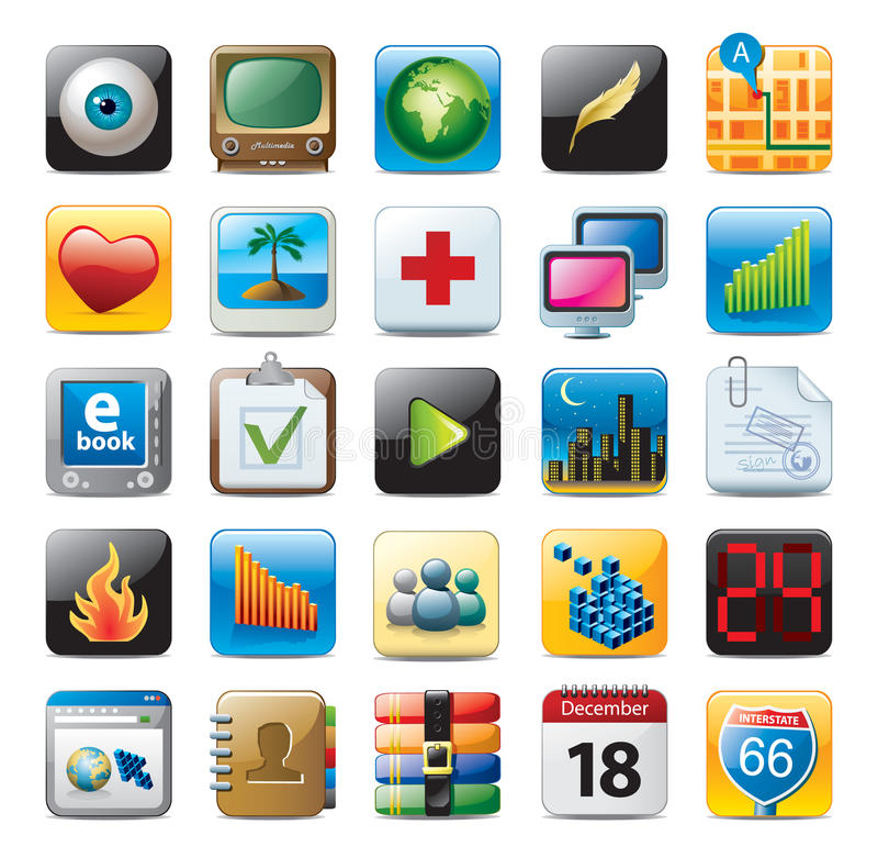 Iconos coloridos del botón 3D libre illustration