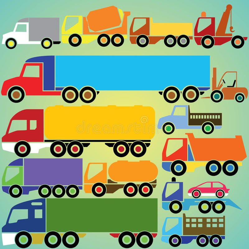 Iconos coloridos del camión stock de ilustración