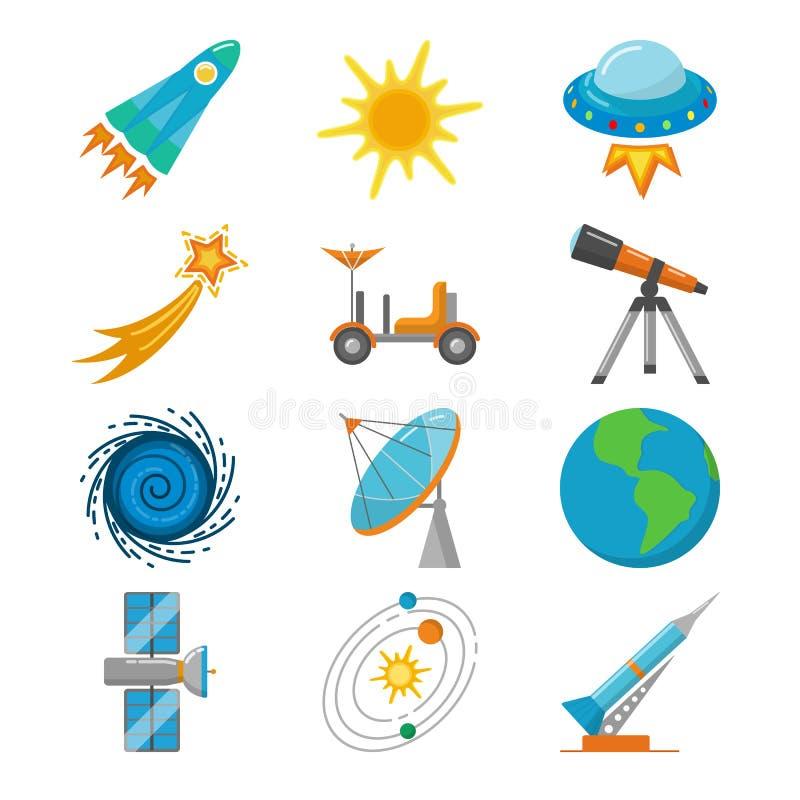 Iconos coloridos del espacio fijados en estilo plano libre illustration
