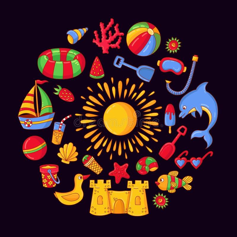 Iconos coloridos del garabato del vector del garabato de las vacaciones de verano de la playa fijados stock de ilustración