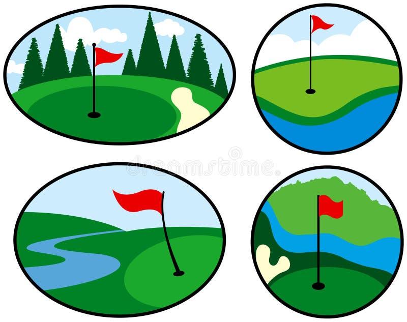 Iconos coloridos del golf ilustración del vector