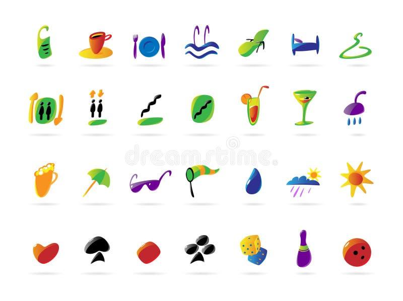 Iconos coloridos del hotel y del ocio ilustración del vector