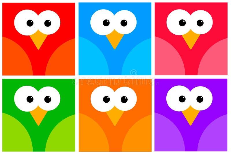 Iconos coloridos del pájaro stock de ilustración