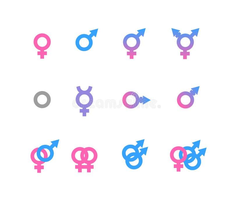 Iconos coloridos del símbolo y de la identidad del género en el fondo blanco ilustración del vector