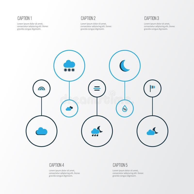 Iconos coloridos del tiempo fijados Colección de humedad, de velocidad del viento, de noche y de otros elementos También incluye  stock de ilustración