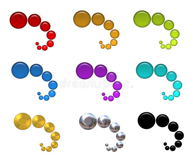 Iconos coloridos del Web de las burbujas stock de ilustración