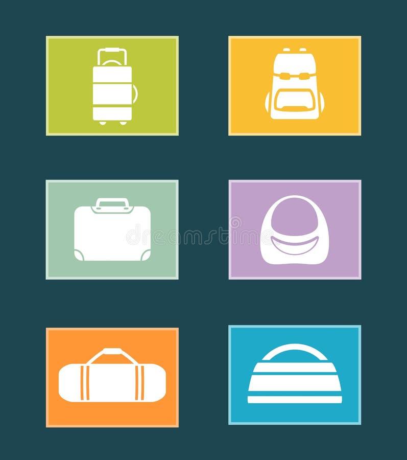 Iconos coloridos determinados con los bolsos libre illustration