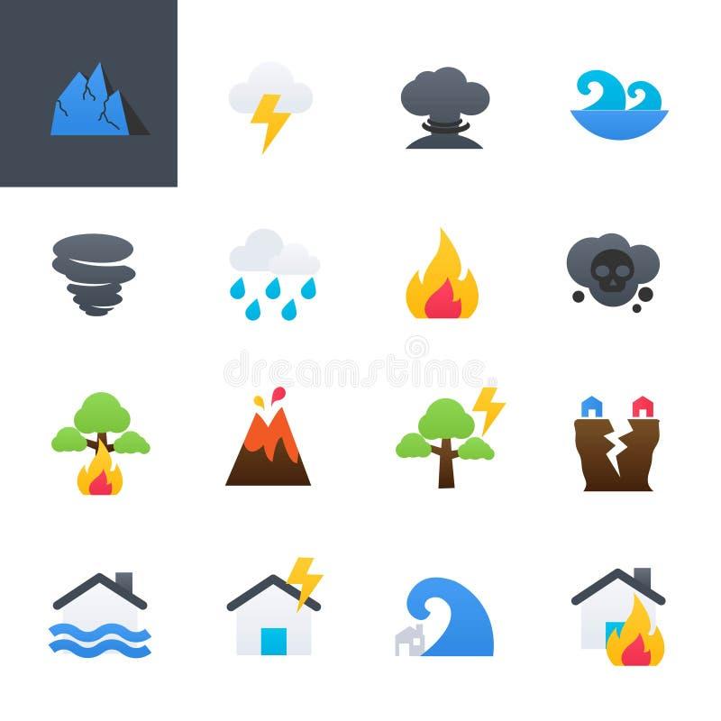 Iconos coloridos fijados, diseño del desastre natural del ejemplo del vector ilustración del vector