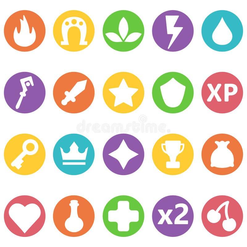 Iconos coloridos fijados en círculo Activos fijados para el diseño y la aplicación web de juego ilustración del vector