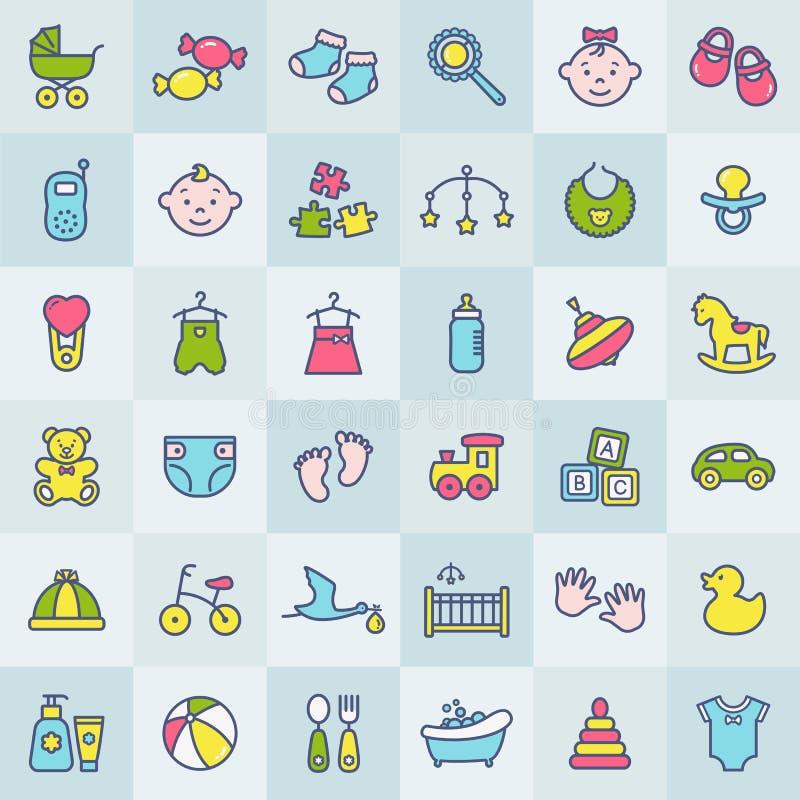 Iconos coloridos modernos del bebé Sistema del vector libre illustration