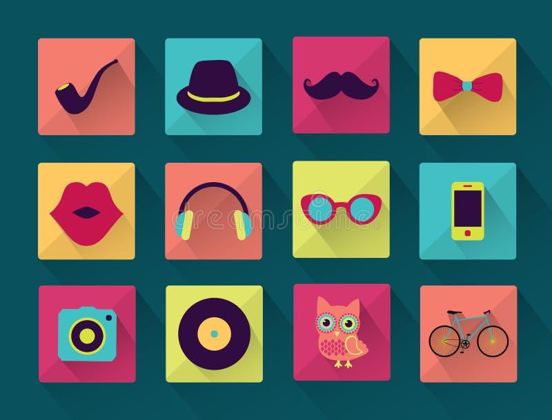 Iconos completamente de largo sombreados del inconformista stock de ilustración