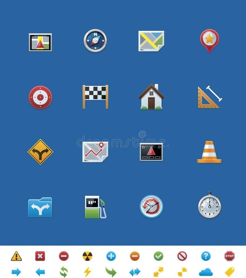 Iconos comunes del Web site del vector. Navegación del GPS ilustración del vector