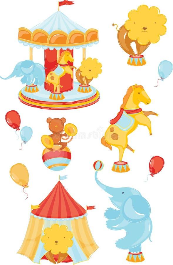 Iconos con el circo stock de ilustración