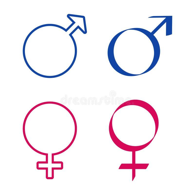 Iconos con las muestras masculinas y femeninas stock de ilustración