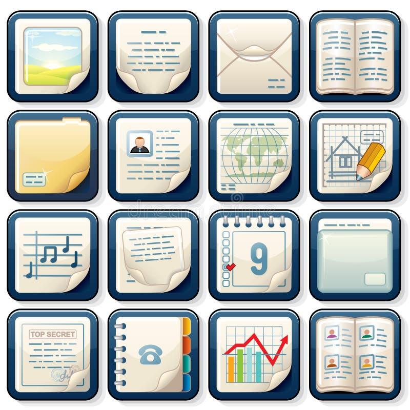 Iconos con los documentos de papel. Diseño de negocio ilustración del vector