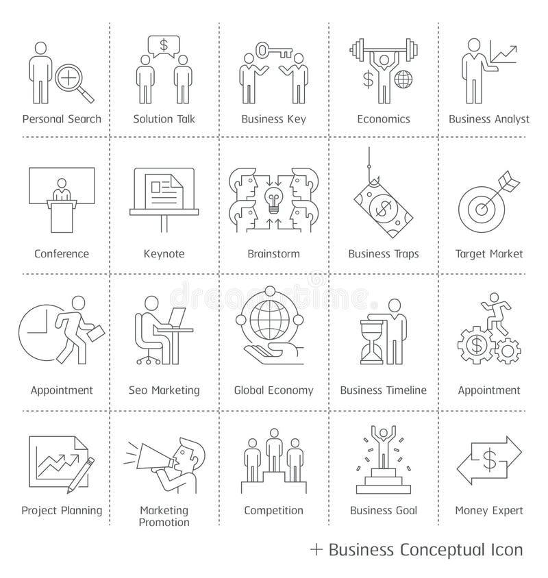 Iconos conceptuales de la gestión de negocio ilustración del vector