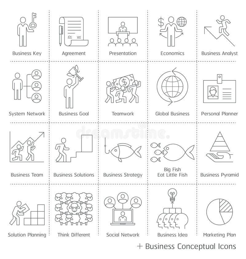 Iconos conceptuales de la gestión de negocio stock de ilustración