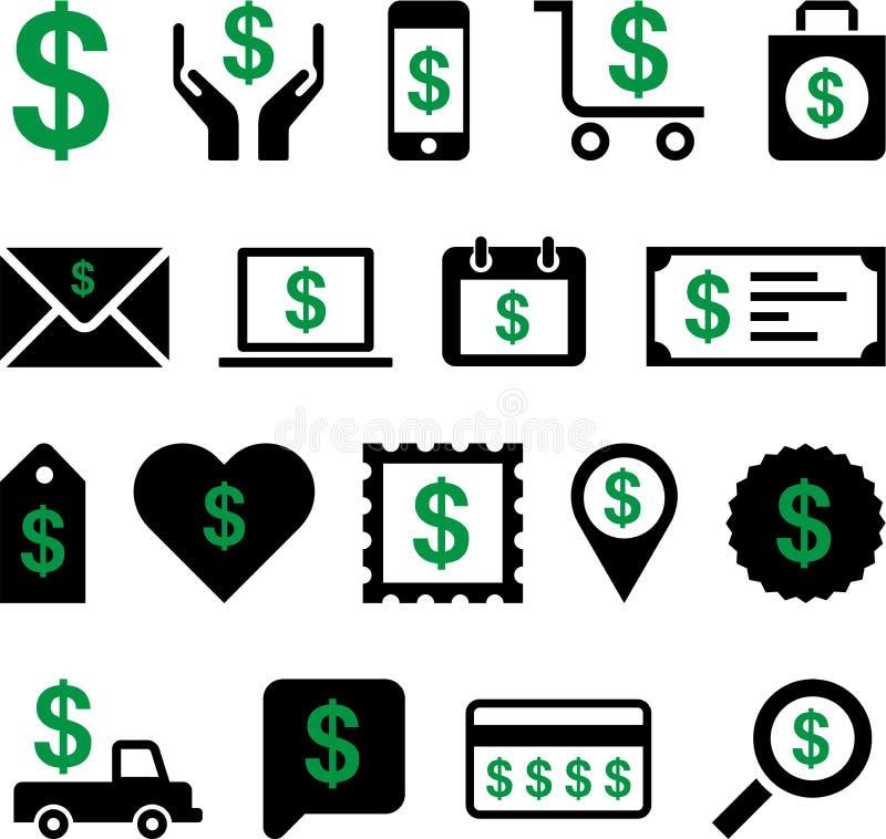 Iconos conceptuales del dólar libre illustration