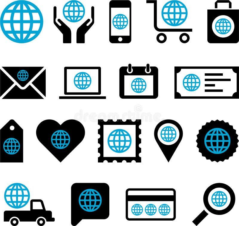 Iconos conceptuales del mundo stock de ilustración