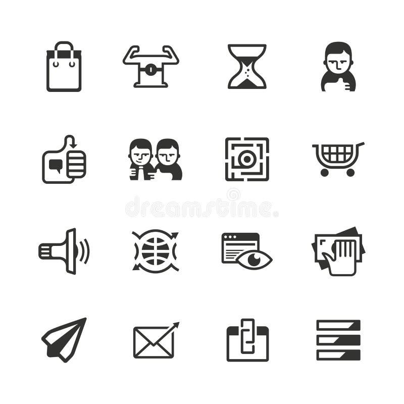 16 iconos contentos del márketing ilustración del vector