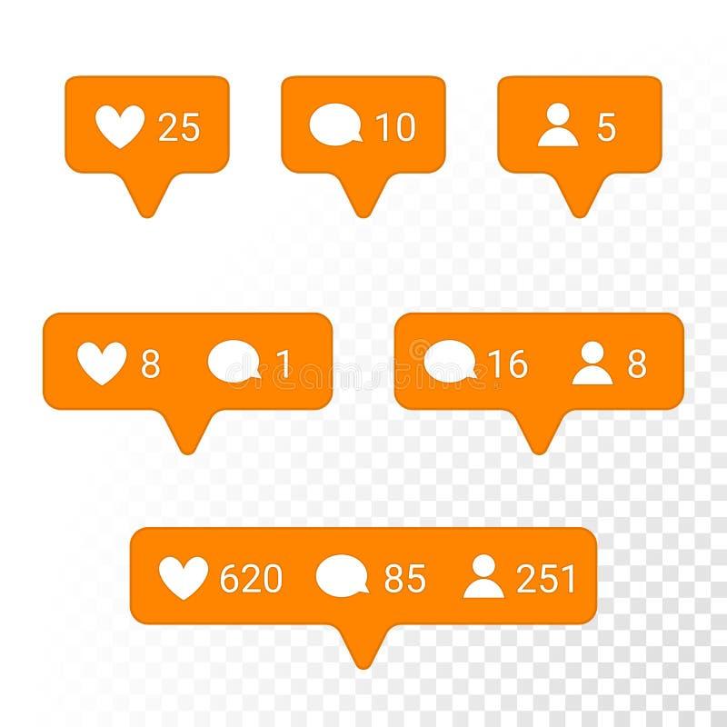 Iconos corazón, mensaje, sistema del uso de la notificación del vector de la petición del amigo libre illustration