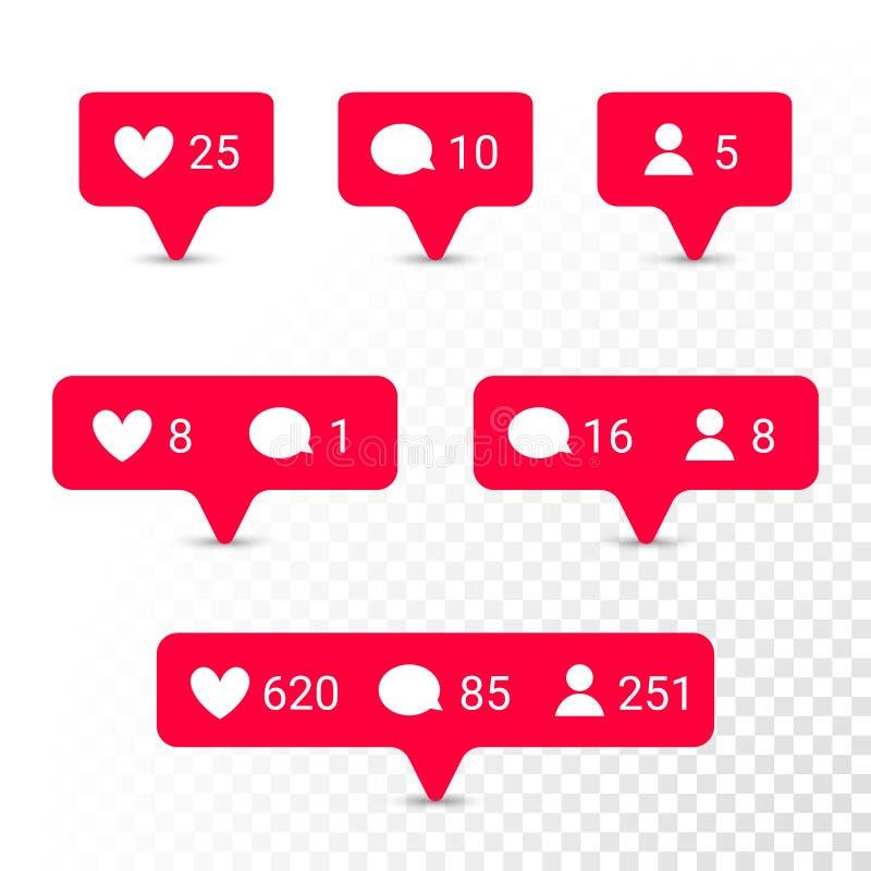 Iconos corazón, mensaje, sistema del uso de la notificación del vector de la petición del amigo stock de ilustración
