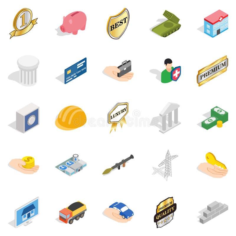 Iconos corporativos fijados, estilo isométrico de los éticas libre illustration