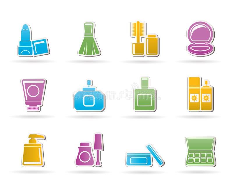 Iconos cosméticos de la industria y de la belleza ilustración del vector
