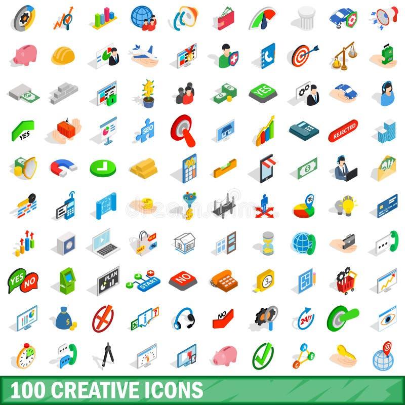 100 iconos creativos fijados, estilo isométrico 3d stock de ilustración