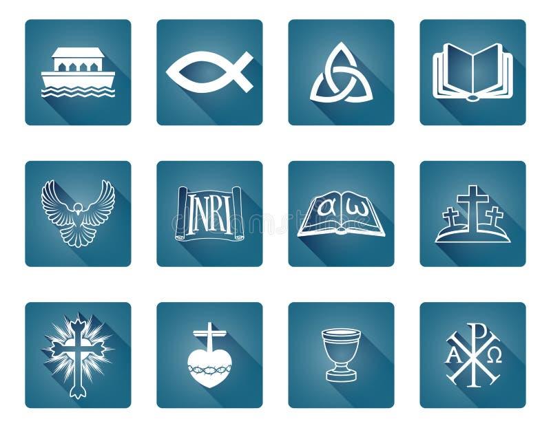 Iconos cristianos stock de ilustración