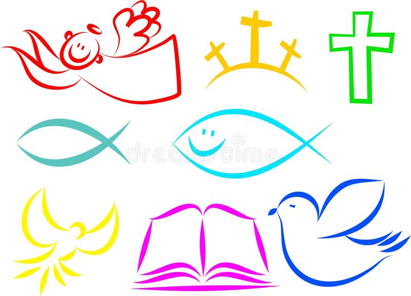 Iconos cristianos ilustración del vector
