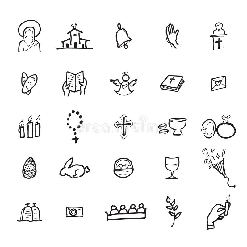 Iconos cristianos de la iglesia fijados libre illustration