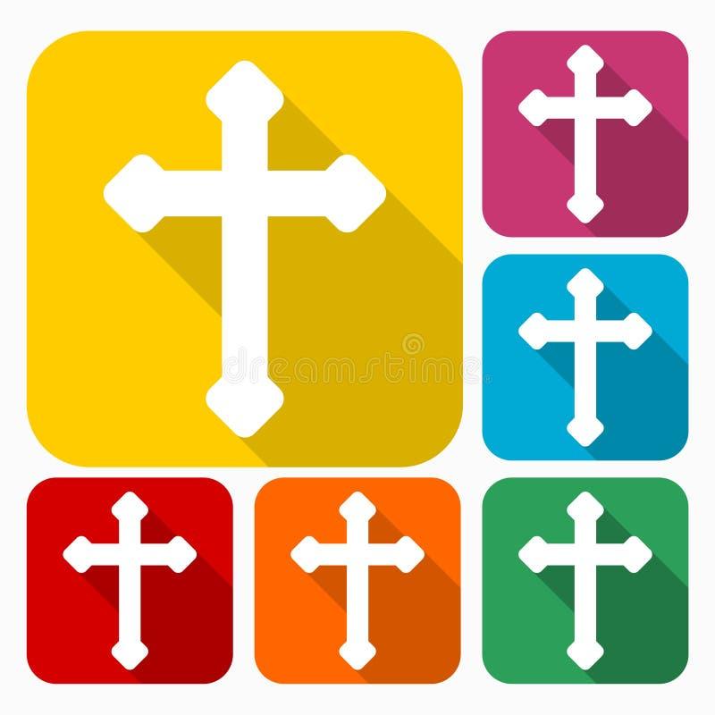Iconos cruzados cristianos decorativos fijados stock de ilustración