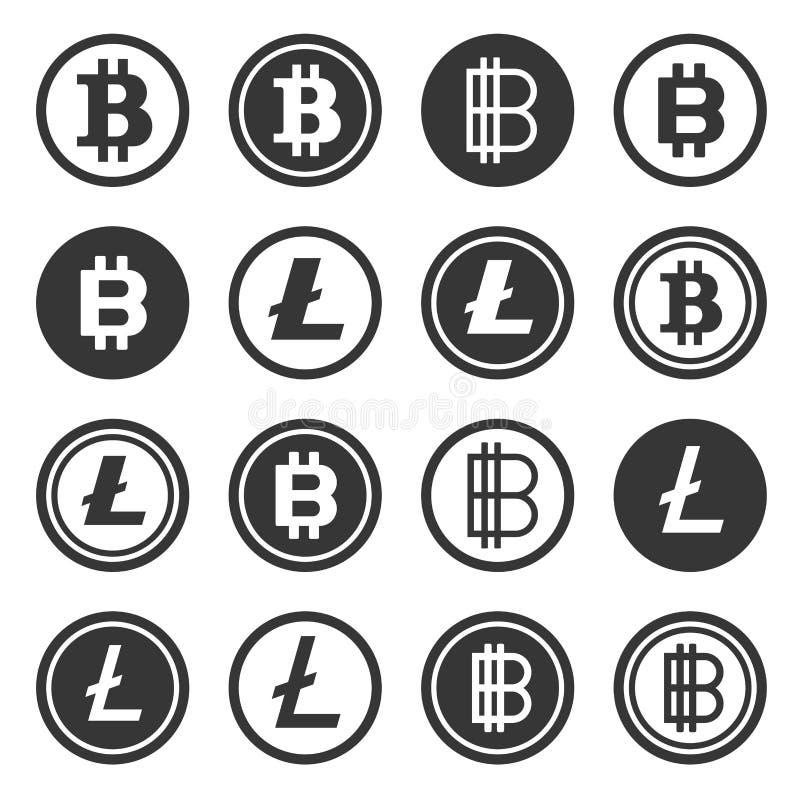 Iconos Crypto de la moneda de Bitcoin y de Litecoin fijados Vector ilustración del vector