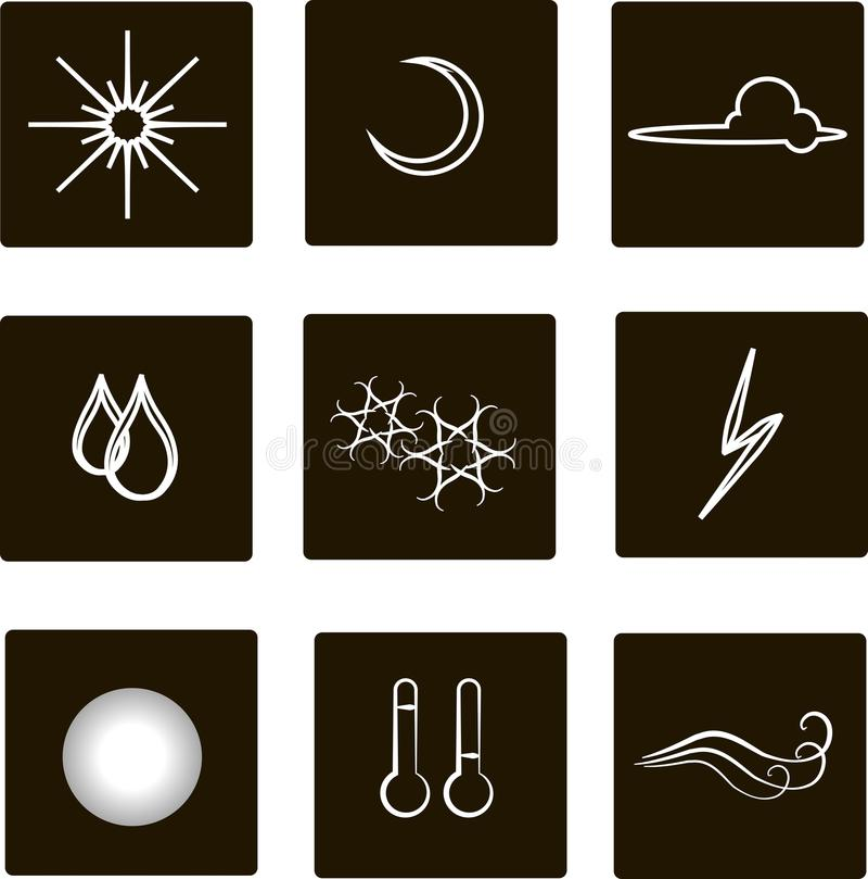 Iconos cuadrados planos del tiempo Esquemas blancos, nubes, niebla, luna, sol, lluvia, nieve, tormenta, temperatura, viento contr libre illustration