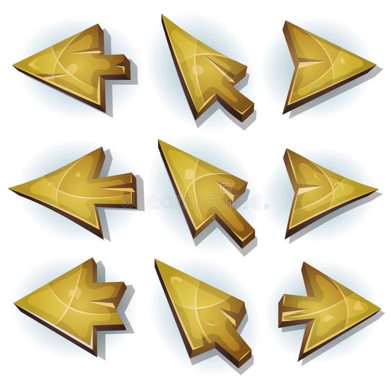 Iconos, cursor y flechas de madera ilustración del vector
