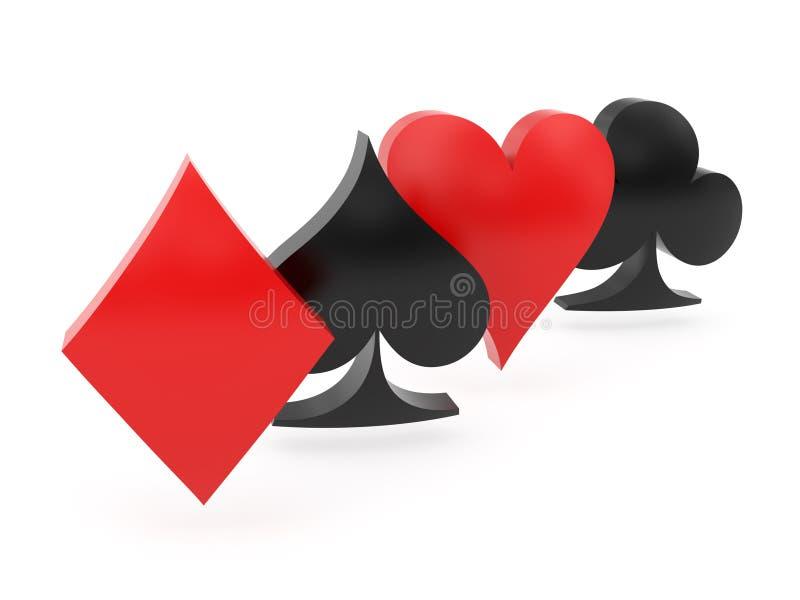 Iconos curvados del traje de las tarjetas dispuestos por la diagonal ilustración del vector