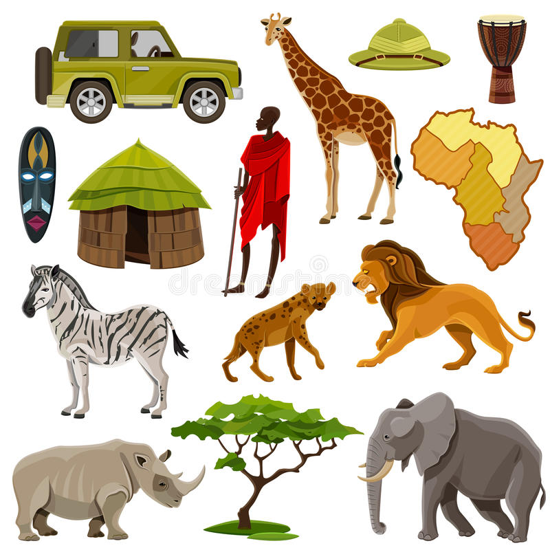 Iconos de África fijados libre illustration