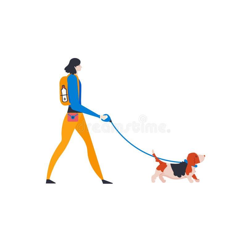 Iconos de ?artoon del perro de afloramiento y del perro-caminante personal Muchacha linda con el animal doméstico al aire libre I stock de ilustración