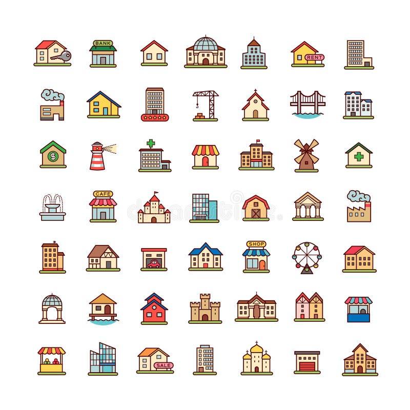 Iconos de Achitecture fijados ilustración del vector