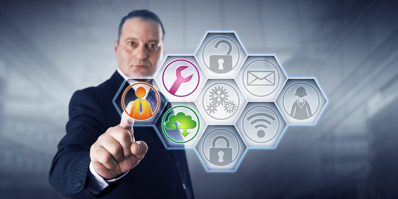 Iconos de Activating Managed Services del hombre de negocios fotos de archivo