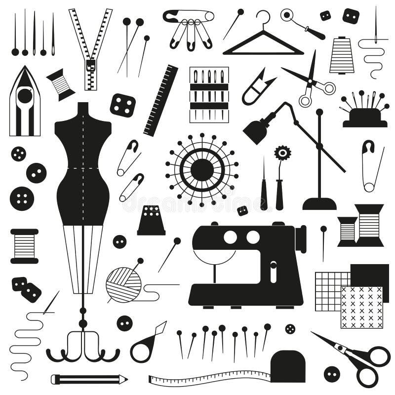 Iconos de adaptación y de costura ilustración del vector